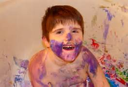 Finger painting mess